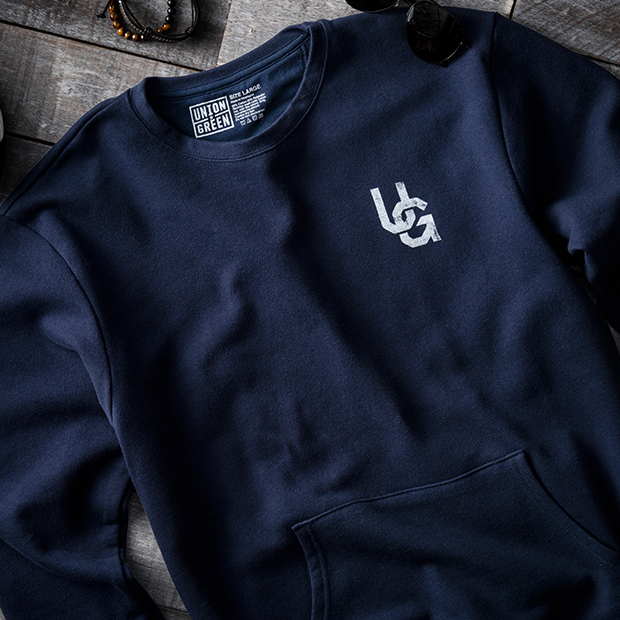 Union Green Double Hit French Terry Sweatshirt in Navy