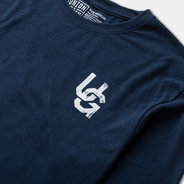 Union Green Grit Long Sleeve T-Shirt in Navy