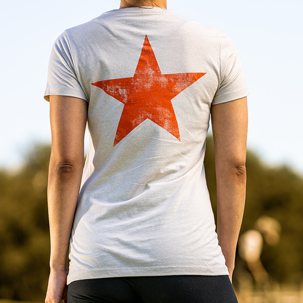 Union Green Ladies Double Hit Star T-Shirt in Light Tan