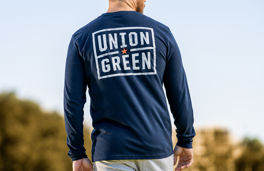 Union Green Grit Long Sleeve Shirt Navy